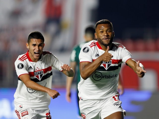 Luan of Sao Paulo celebrates his first goal against Palmeiras, pictured on August 10, 2021