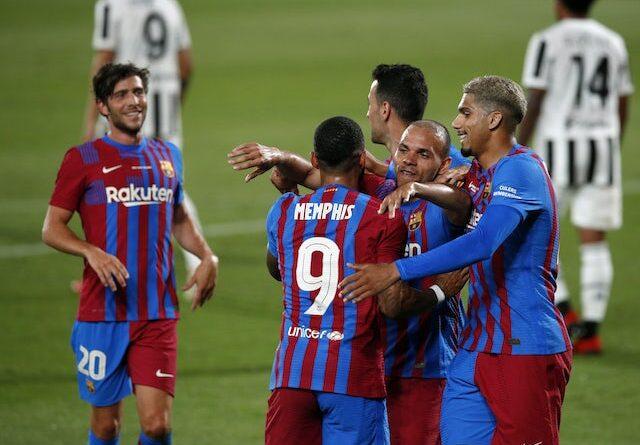 Barcelona's Martin Braithwaite will celebrate his goal against Juventus on August 8, 2021
