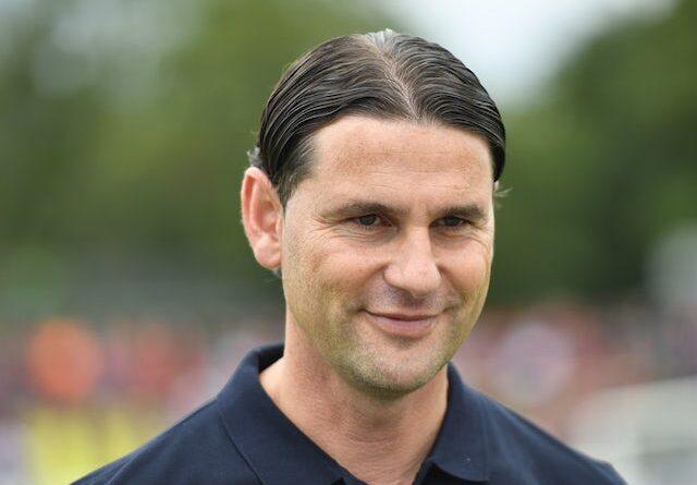 Bayer Leverkusen's coach Gerardo Seoane arrives before the game on August 7, 2021
