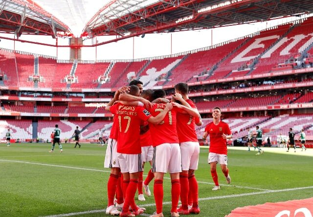 Benficas Pizzi celebrates with teammates on May 15, 2021