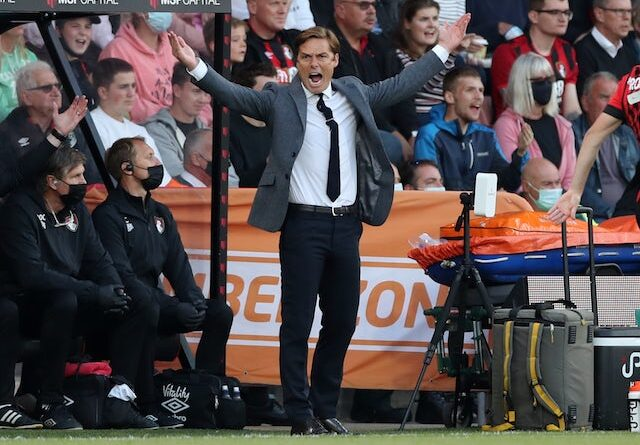 Bournemouth manager Scott Parker reacts on August 6, 2021
