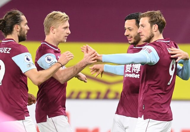 Chris Wood celebrates with his teammates after scoring for Burnley against Crystal Palace in the Premier League on November 23, 2020