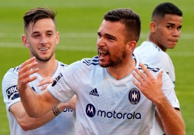 Chicago Fire midfielder Luka Stojanovic reacts after scoring a goal against Inter Miami on May 22, 2021