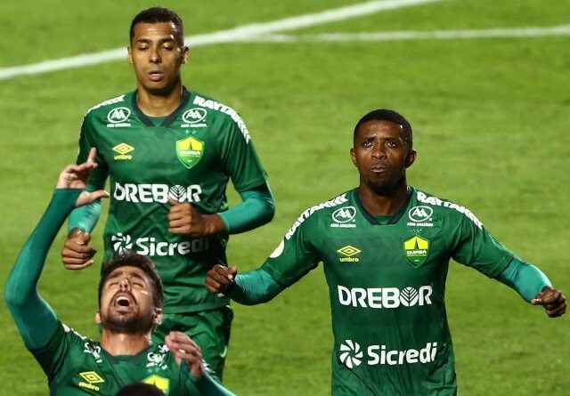 Cuiabas Rafael Gava will celebrate his first goal with his teammates on June 23, 2021
