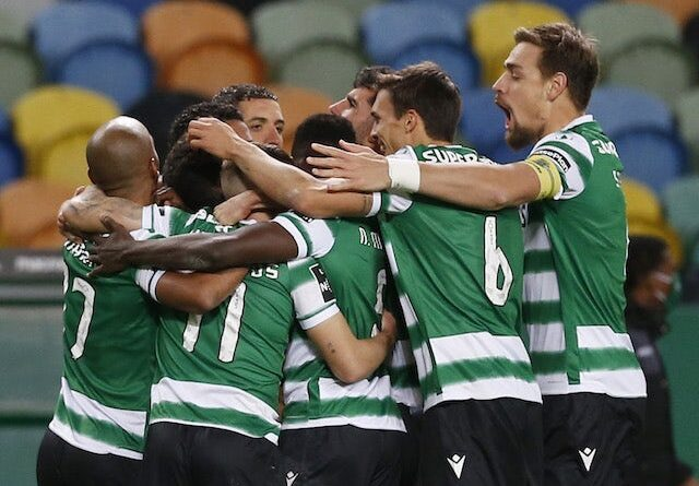Sporting Lisbon's Pedro Goncalves will celebrate his first goal with teammates in January 2021