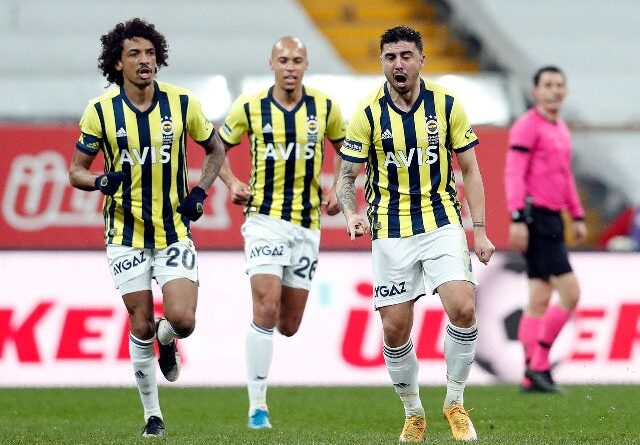 Fenerbahce's Ozan Tufan will celebrate his first goal against Besiktas in the Super Lig in March 2021