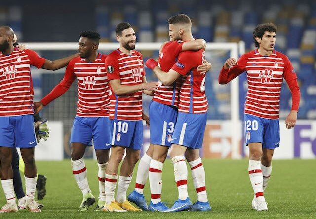 Granada players celebrate victory over Napoli in the Europa League on February 25, 2021