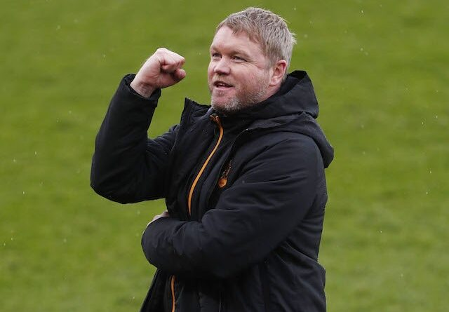 Hull City manager Grant McCann celebrates first division victory after the game on May 1, 2021
