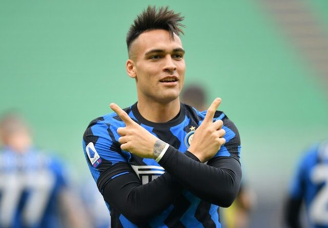 Lautaro Martinez of Inter Milan celebrates a goal against AC Milan in Serie A on February 21, 2021