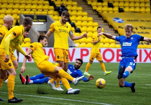 Rangers defender Filip Helander shoots in the Scottish Premiership duel with Livingston on Jan.