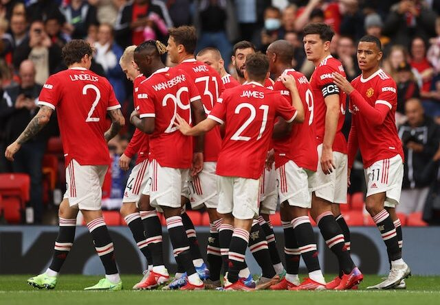 Manchester United players celebrate Harry Maguire's goal against Everton in a pre-season clash on 7 August 2021