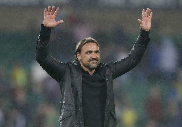 Norwich City manager Daniel Farke celebrates after the game on August 24, 2021