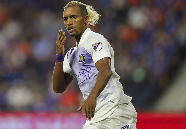 Orlando City SC midfielder Nani (17) reacts after scoring a goal against FC Cincinnati in the second half at TQL Stadium on August 7, 2021