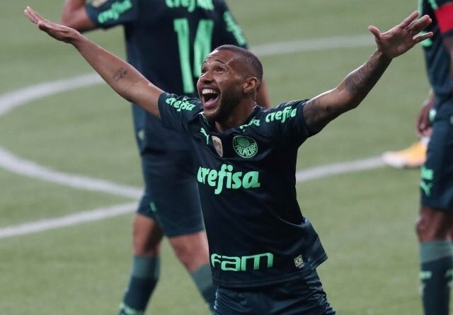 Wesley Ribeiro Silva from Palmeiras will celebrate his third goal on June 6, 2021