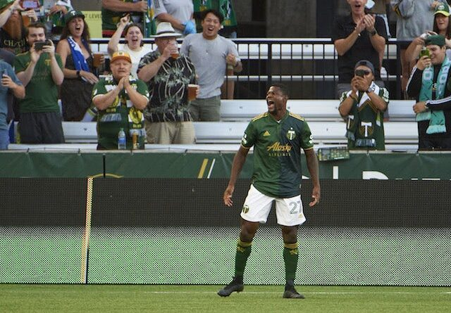 Portland Timbers striker Dairon Asprilla (27) celebrates after breaking on Jan.