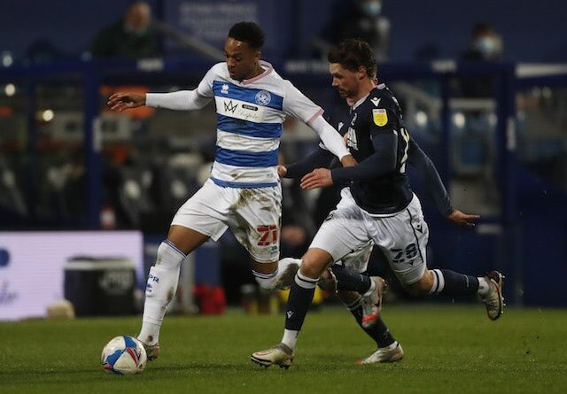 Chris Willock of Queens Park Rangers in action with George Evans of Millwall in the championship on March 17, 2021