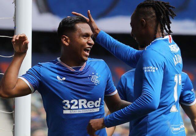 Rangers striker Alfredo Morelos celebrates a goal in the Scottish Premiership against Celtic on May 2, 2021