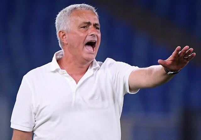 Roma coach Jose Mourinho reacts on August 22, 2021