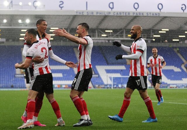 Sheffield United's Daniel Jebbison celebrates a Premier League goal against Everton on May 16, 2021