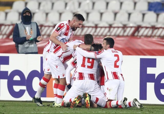 Red Star Belgrade Radovan Pankov will celebrate his second goal with his teammates in the Europa League on February 18, 2021