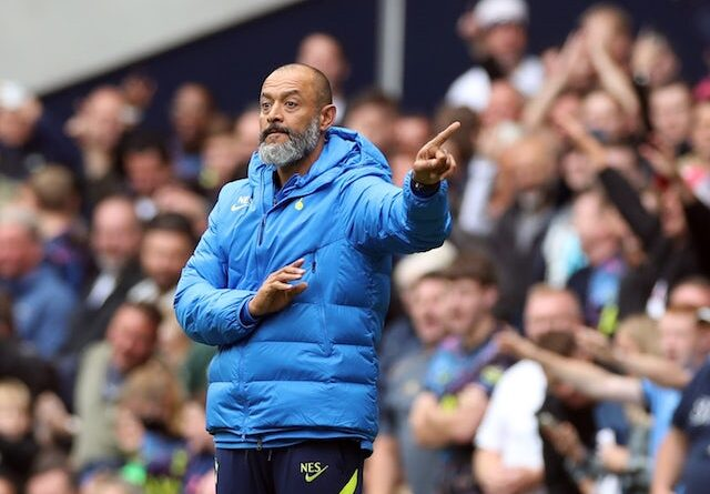 Tottenham Hotspur manager Nuno Espirito Santo gives instructions to his players on August 8, 2021