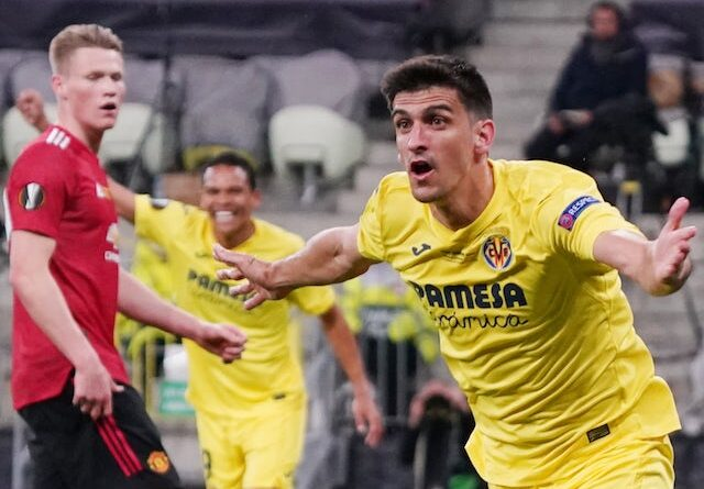 Villarreal's Gerard Moreno celebrates a goal against Manchester United in the Europa League final on May 26, 2021