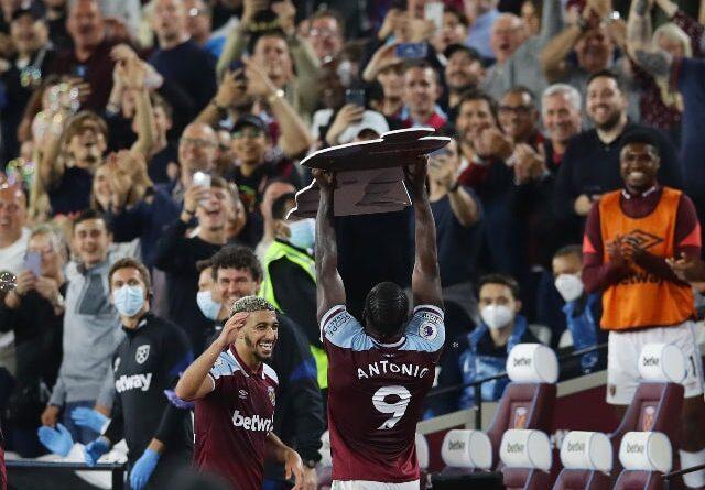 Mikhail Antonio celebrates his goal for West Ham United against Leicester City in the Premier League on August 23, 2021