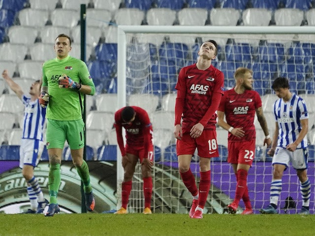 AZ Alkmaar players look dejected against Real Sociedad on November 5, 2020