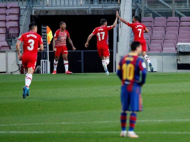 Granada's Darwin Machis will celebrate his goal against Barcelona in La Liga on April 29, 2021