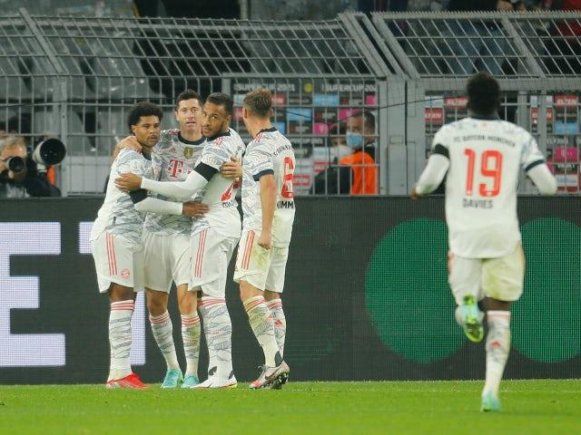 Robert Lewandowski will celebrate a goal in the Supercup for Bayern Munich against Borussia Dortmund on August 17, 2021