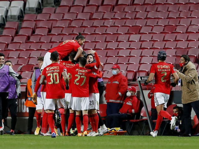 Benfica's Haris Seferovic will celebrate his first goal with his teammates in January 2021