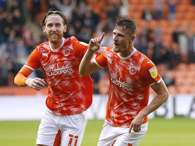 Blackpool's Callum Connolly celebrates a goal against Middlesbrough in the EFL Cup on August 11, 2021