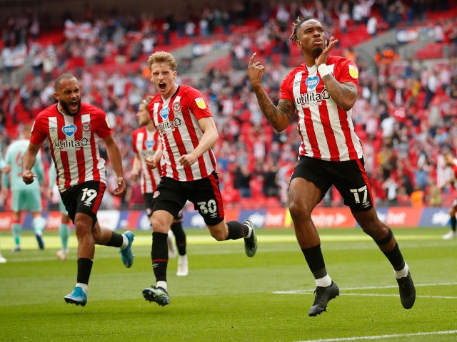 Brentford's Ivan Toney scores his first goal against Swansea City in the championship playoff final on May 29, 2021