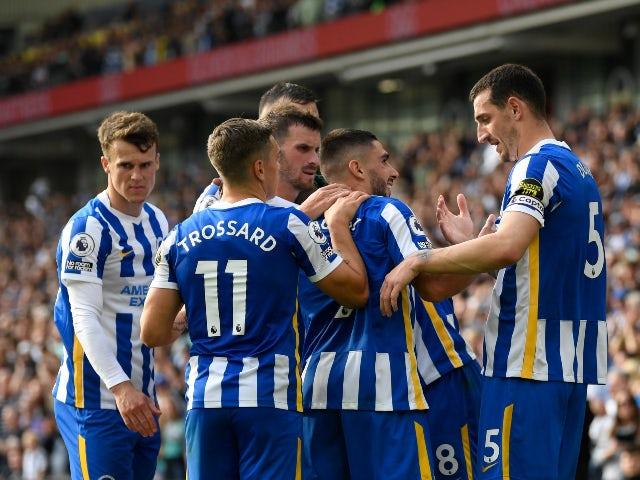 Brighton & Hove Albion's Neal Maupay celebrates his second goal against Watford in the Premier League on August 21, 2021