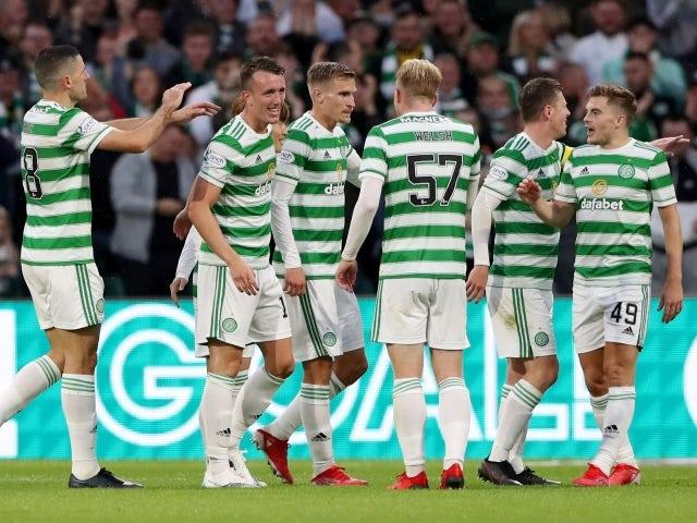 Celtics David Turnbull celebrates with his teammates against FK Jablonec on August 12, 2021
