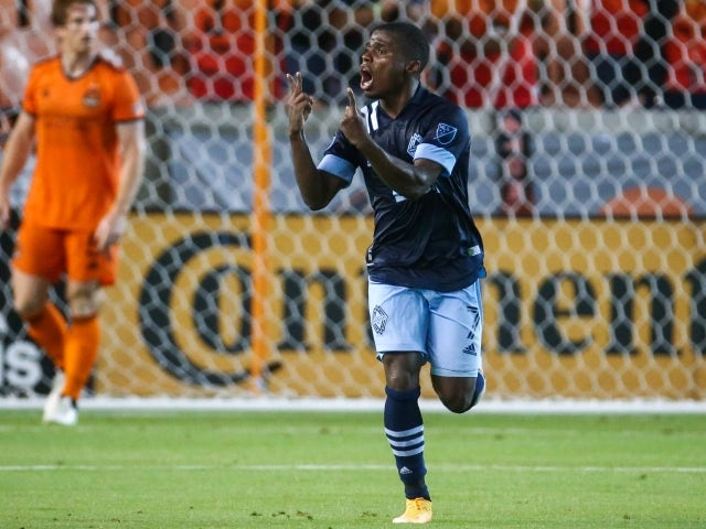 Vancouver Whitecaps FC striker Deiber Caicedo reacts after scoring a goal on May 23, 2021