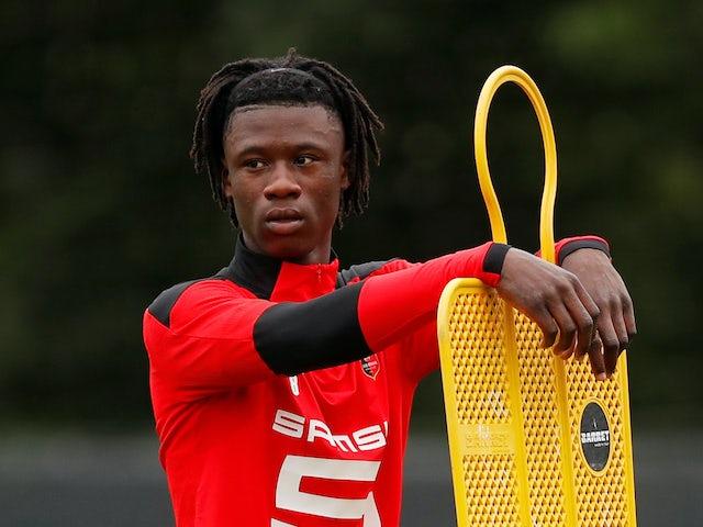 Eduardo Camavinga is taking a break during training in Rennes on July 1st, 2020