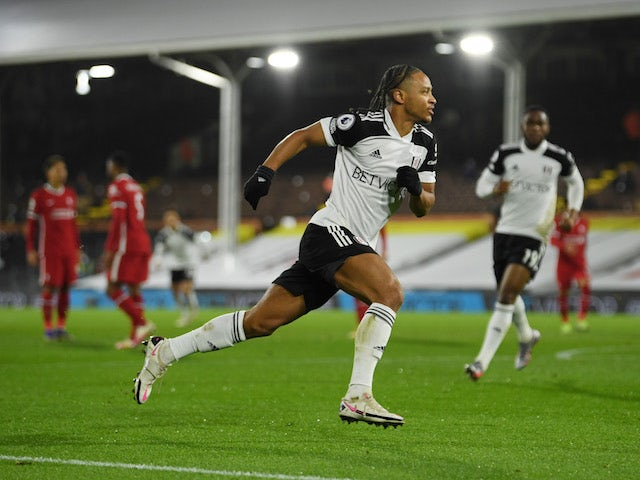 Fulham's Bobby Decordova-Reid celebrates a goal against Liverpool in the Premier League on December 13, 2020