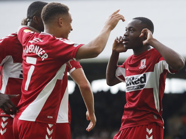 Middlesbrough's Marc Bola celebrates a goal against Fulham in the Championship on August 8, 2021