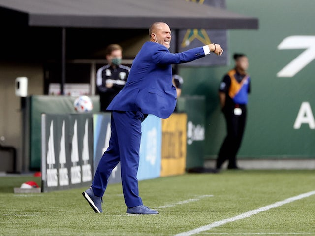 Portland Timbers head coach Giovanni Savarese directs his team in the first half at Providence Park on August 7, 2021 against Real Salt Lake