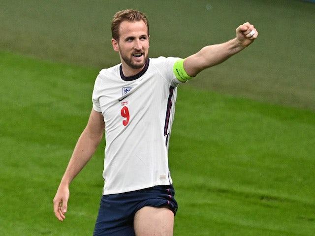 Harry Kane celebrates the winning goal for England on July 7, 2021