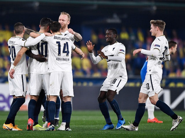 Hoffenheim's Munas Dabbur will celebrate his first goal with teammates in the Europa League on February 18, 2021