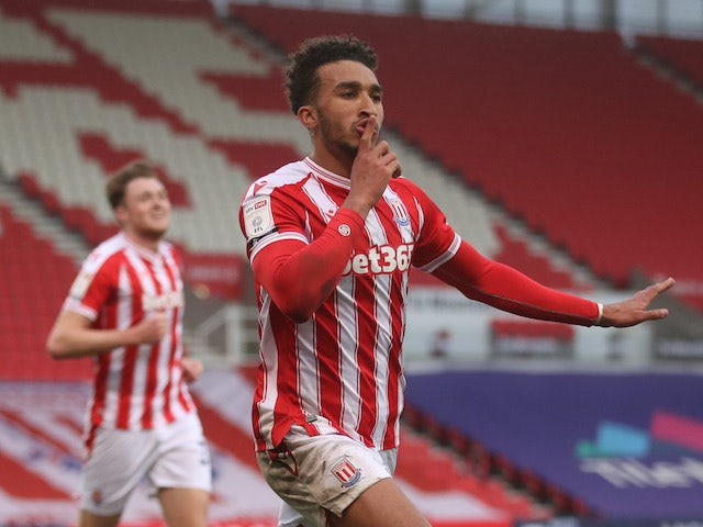 Stoke City's Jacob Brown celebrates his first goal on March 20, 2021