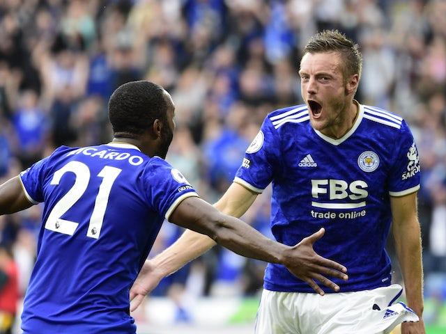 Leicester City's Jamie Vardy celebrates a Premier League goal against Wolverhampton Wanderers on August 14, 2021
