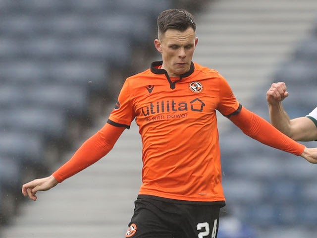 Dundee United's Lawrence Shankland in action on May 8, 2021