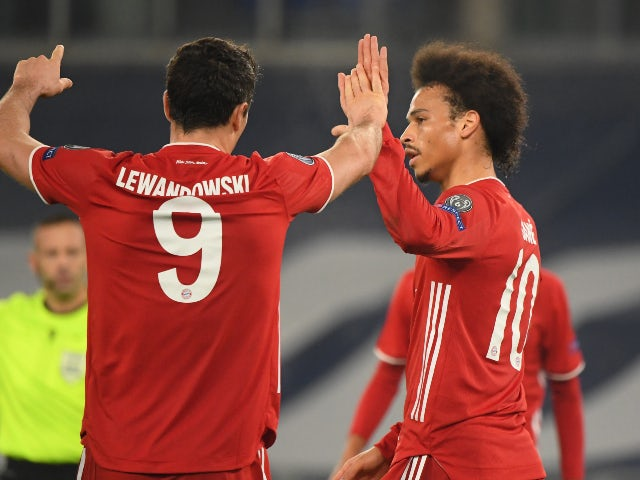 Leroy Sane celebrates a goal in the Champions League for Bayern Munich against Lazio on February 23, 2021
