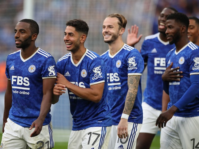 James Maddison from Leicester City celebrates with his teammates after winning the FA Community Shield on August 7th, 2021