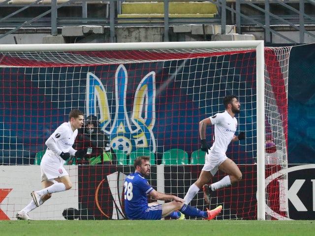 Zorya Luhansk's Allahyar Sayyadmanesh celebrates a goal in the Europa League against Leicester City on December 3, 2020
