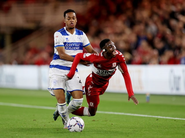 Middlesbroughs Isaiah Jones in action with QPR's Chris Willock in the championship on August 18, 2021