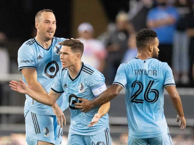 Minnesota United midfielder Will Trapp, 20, is congratulated by defenseman Brent Kallman, 14, and defenseman DJ Taylor, 26, on their goal against the San Jose Earthquakes in the first half at PayPal Park on August 17, 2021